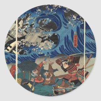 Ancient Japanese Painting of Samurai and Mongols Classic Round Sticker