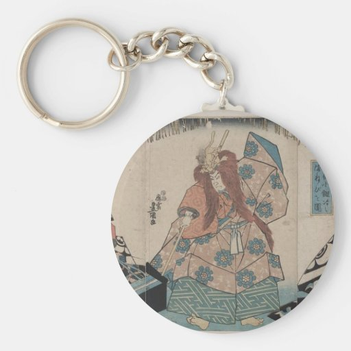 Ancient Japanese Sword Making Ritual circa 1848 Keychain