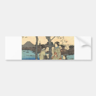 Ancient Japanese Women under Cherry Blossoms Bumper Sticker