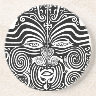 Ancient Maori Moko tribal tattoo design. Coaster