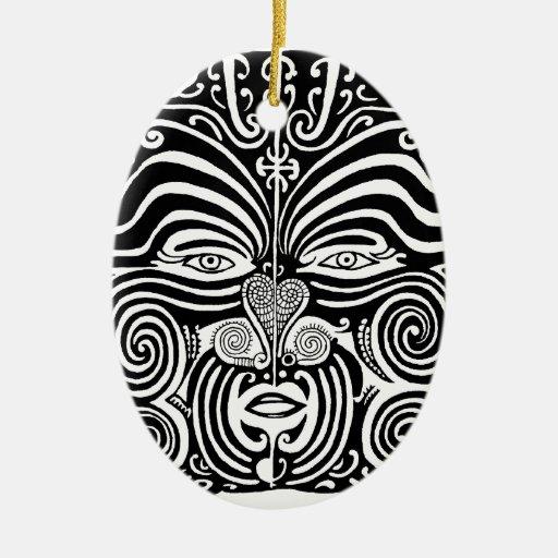 ancient maori moko tribal tattoo design christmas ornament zazzle. Black Bedroom Furniture Sets. Home Design Ideas