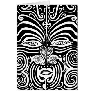 Ancient Maori Moko tribal tattoo design. Greeting Card