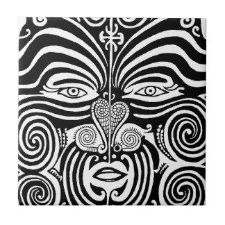 Ancient Maori Moko tribal tattoo design. Tile