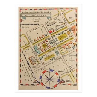 Ancient map of Milton Keynes postcard