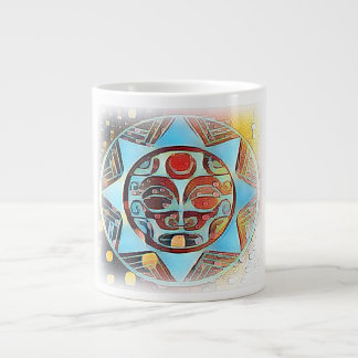Ancient Mask with Colourful Background on Mug