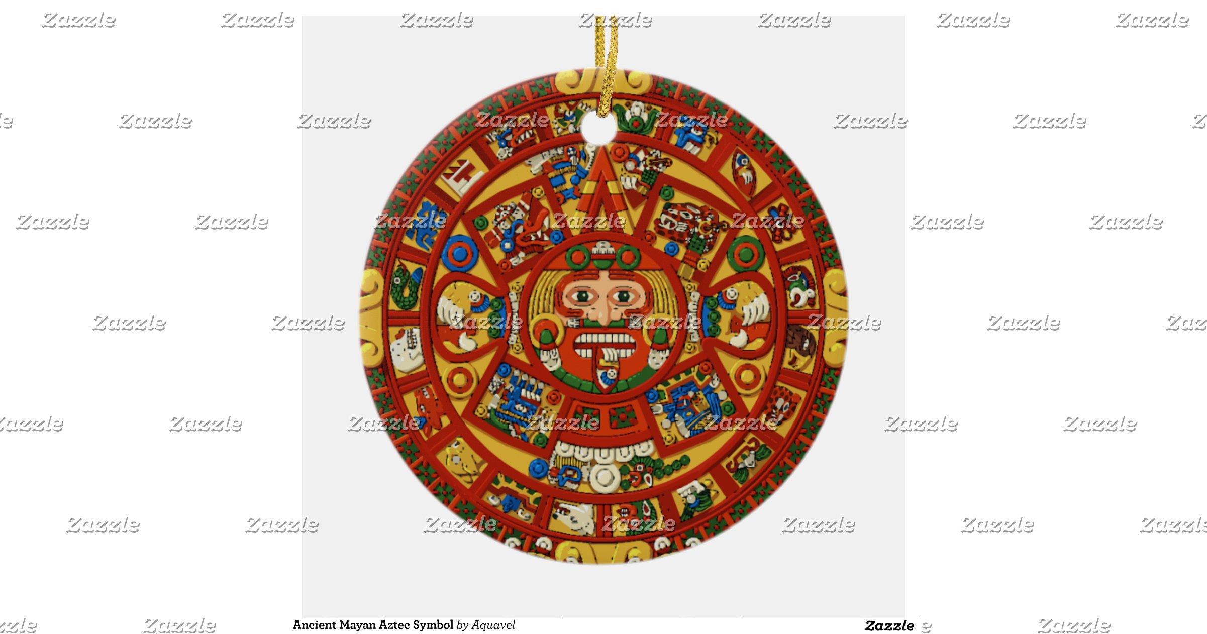 Ancient Mayan Aztec Symbol Round Ceramic Decoration | Zazzle