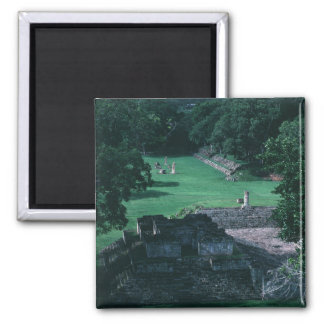 Ancient Mayan Ruins Grass Courtyard and Structures Magnet