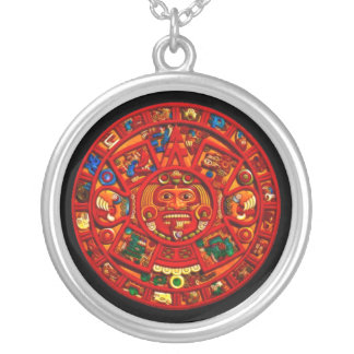 Ancient Mayan Sun Calendar Art  Round Necklace