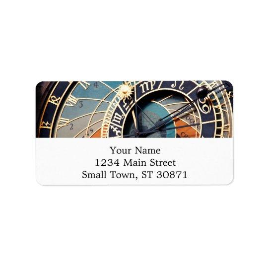 Ancient Mediaeval Astrological Clock Czech Address Label