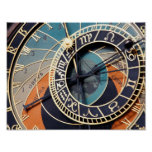 Ancient Mediaeval Astrological Clock Czech Poster