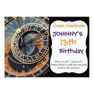 Ancient Medieval Astrological Clock Czech 13 Cm X 18 Cm Invitation Card