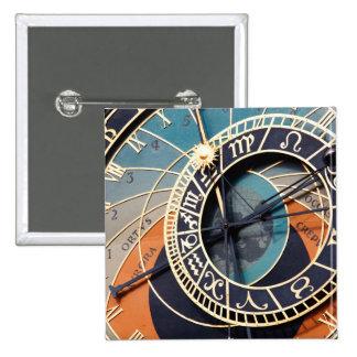 Ancient Medieval Astrological Clock Czech 15 Cm Square Badge