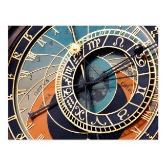Ancient Medieval Astrological Clock Czech Postcard