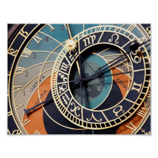 Ancient Medieval Astrological Clock Czech Poster