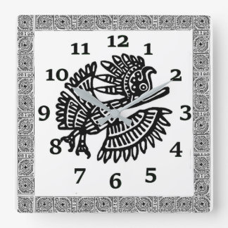 Ancient Mexican Design Square Wall Clock