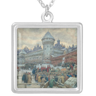 Ancient Moscow, departure after a fight Silver Plated Necklace