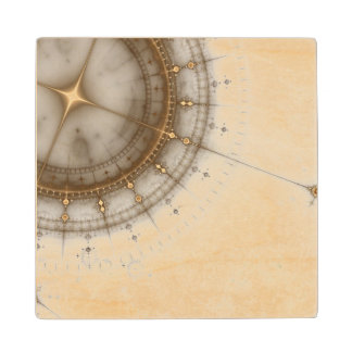 Ancient Nautical Chart, Grunge Wood Coaster