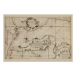 Ancient nautical map of the Pacific Ocean Poster