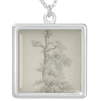 Ancient Oak Tree with a Stork's Nest Silver Plated Necklace