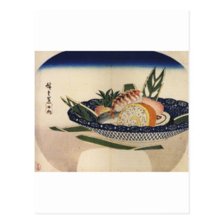 Ancient Painting of a Bowl of Sushi circa 1800 s Post Card