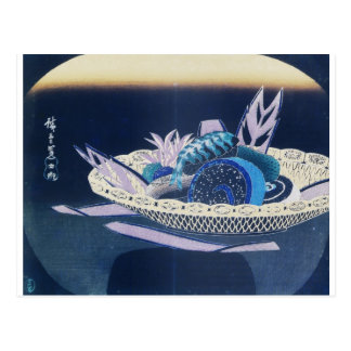 Ancient Painting of a Bowl of Sushi circa 1800's Postcard