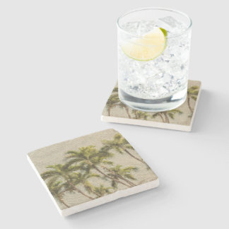 Ancient Palm Mosaic Stone Coaster
