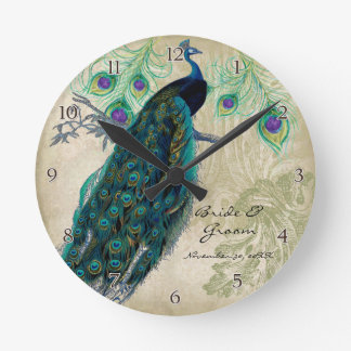 Ancient Peacock & Etchings Personalized Wedding Clocks