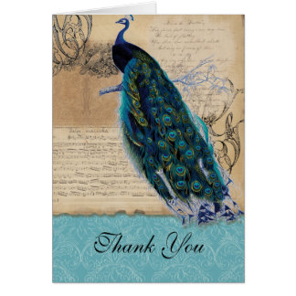 Ancient Peacock Vintage Wedding Thank You Notes