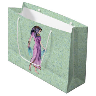 Ancient Pretty Egyptian Lady Princess in Purple Large Gift Bag