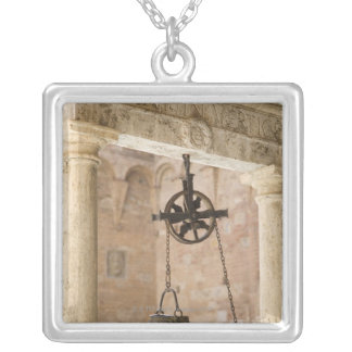 ancient public water well silver plated necklace