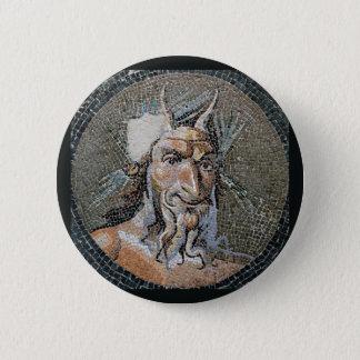 Ancient Roman Pan Mosaic 6 Cm Round Badge