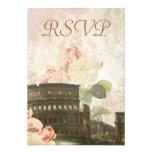 Ancient Rome Pink Rose Vintage RSVP Card
