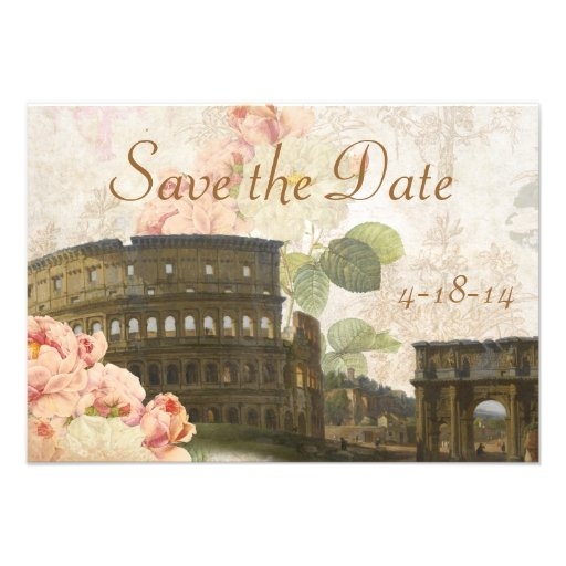 Ancient Rome Pink Rose Vintage Save the Date Card