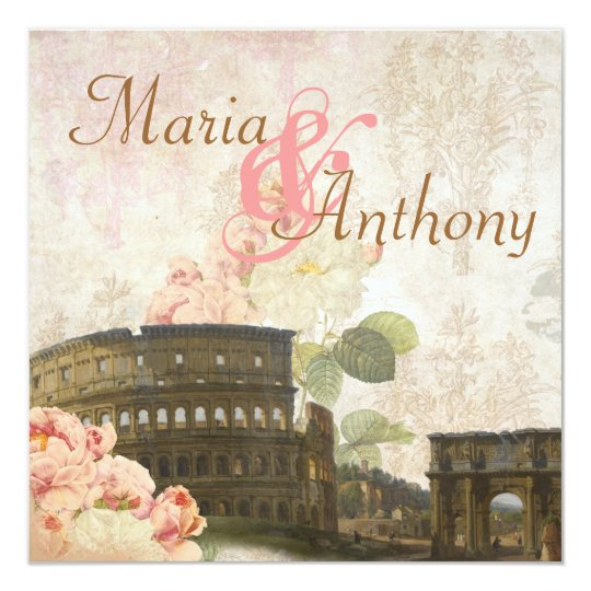 Ancient Rome Pink Rose Vintage Wedding Invitation