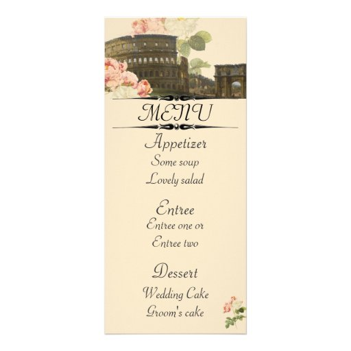 Ancient rome pink roses menu card customised rack card for Roman menu template