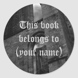 Ancient ruins book plate stickers for your name round sticker