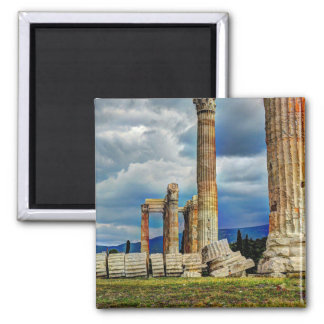 Ancient Ruins in Athens Greece Square Magnet
