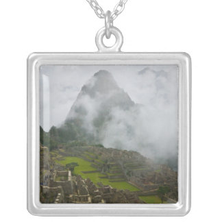 Ancient ruins of Machu Picchu with Andes Silver Plated Necklace