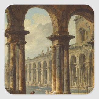 Ancient Ruins Used as Public Baths Hubert Robert Square Sticker