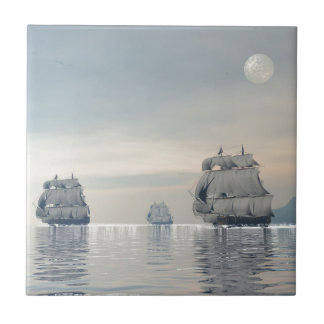 Ancient ships on the ocean small square tile