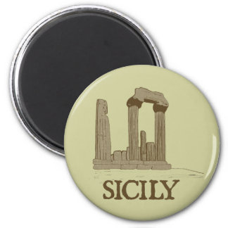 Ancient Sicily Agrigento Ruins 6 Cm Round Magnet