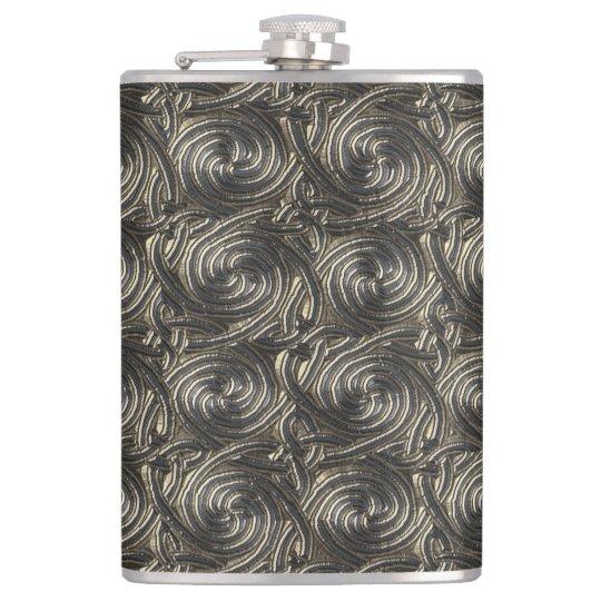 Ancient Silver Celtic Spiral Knots Pattern Hip Flask