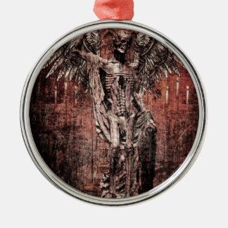 Ancient Skull Wing Dead Zombie Silver-Colored Round Decoration