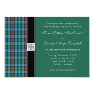 Ancient Smith Green Tartan Wedding Invitation