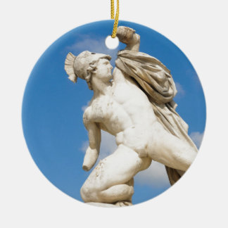 Ancient statue round ceramic decoration