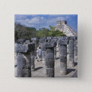 Ancient Stone pillars in Chichen Itza. Central 15 Cm Square Badge