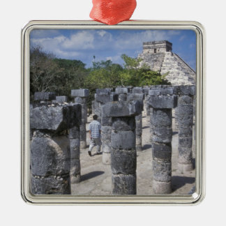 Ancient Stone pillars in Chichen Itza. Central Christmas Ornament