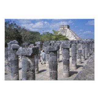 Ancient Stone pillars in Chichen Itza. Central Photograph