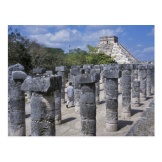 Ancient Stone pillars in Chichen Itza Central Post Card