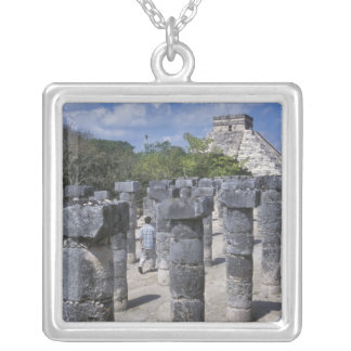 Ancient Stone pillars in Chichen Itza. Central Silver Plated Necklace